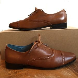 Toms Leather Mocha Brogue Warm Tan Lace Up Shoes 9